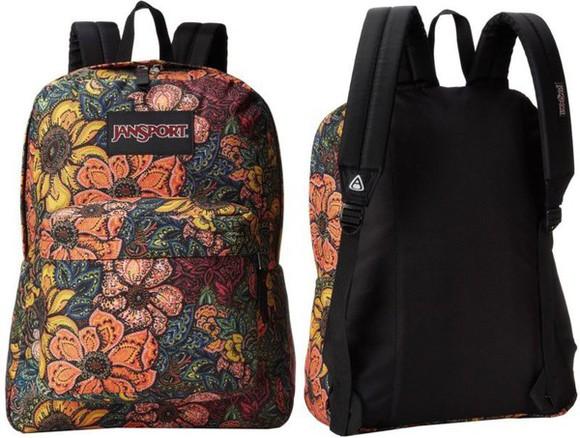 bag colorful backpack jansport floral