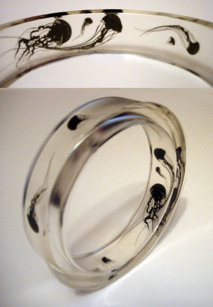 jewels octopus ring underwater glass black accessories see through sea creatures