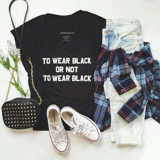shirt black flannel converse outfit tumblr tumblr outfit