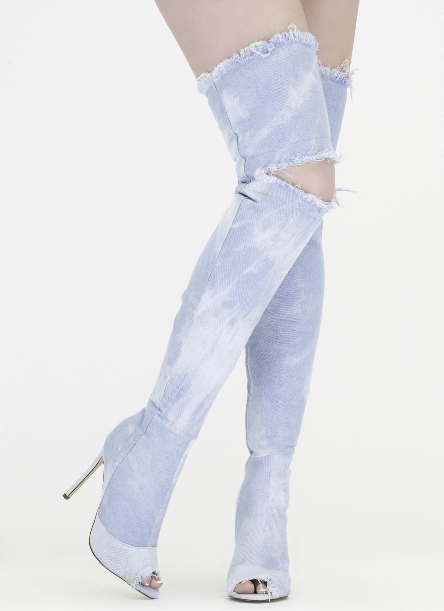 Distress Signal Denim Thigh-High Boots BLUE LTBLUE GREY MEDIUMBLUE BLACK - GoJane.com