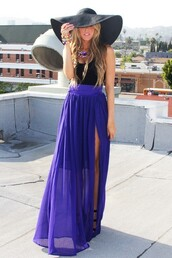 skirt,maxi skirt,purple,hat,maxi,sheer,chiffon,sapphire,slit,blue skirt,blue,long skirt,model,high waisted skirt,blonde hair,gap,sheer skirt,sheer maxi skirt,slit maxi skirt,slit skirt,dark purple skirt,beautiful,perfecto,cute skirt,dress,purple dress