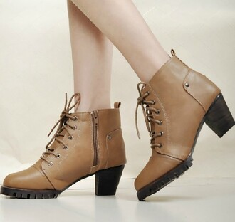 shoes boot fashion zip lace up