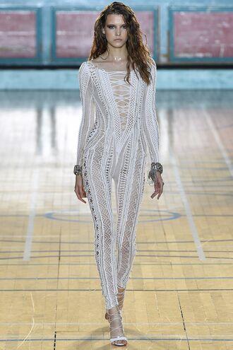 jumpsuit lace up white julien macdonald london fashion week 2016 leggings top see through sandals runway model
