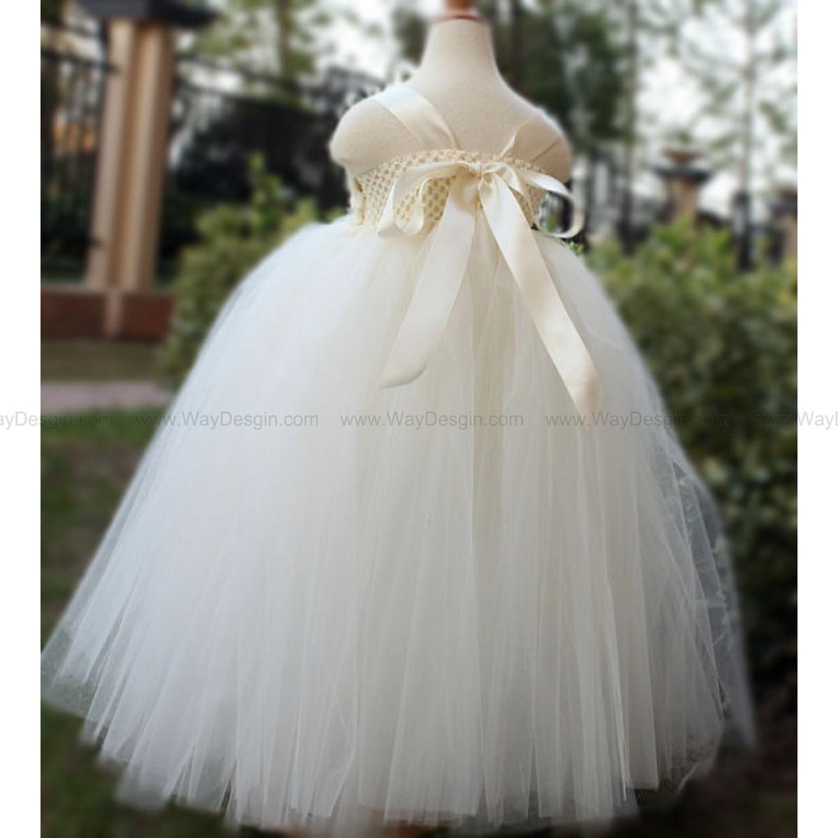 Flower Girl Dress Antique White Ivory Tutu Dress Baby Dress Toddler