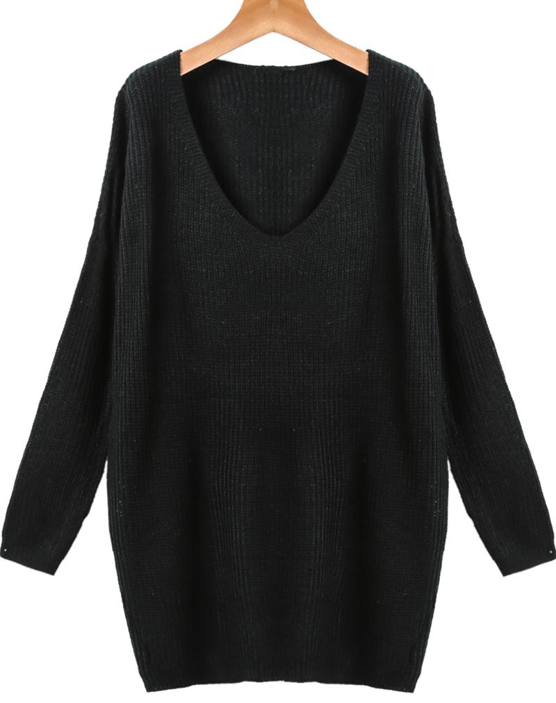 Black neck long sleeve loose knit sweater cat