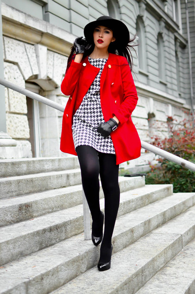 red coat coat red winter jacket houndstooth dress