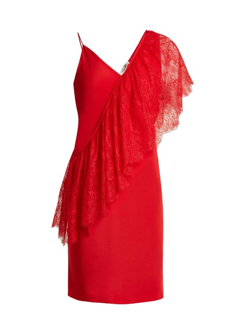 Diane Von Furstenberg dress draped lace red