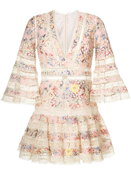 Zimmermann dress embroidered women lace nude cotton
