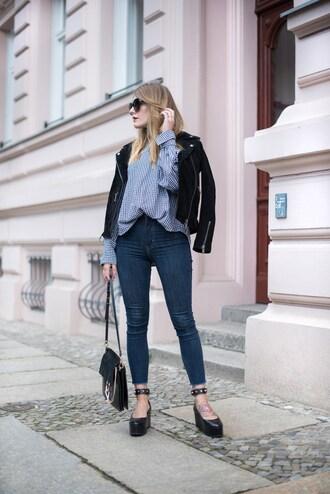 shirt black jacket tumblr gingham jacket leather jacket shoes black shoes wedges wedge sandals denim jeans bag