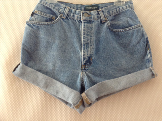 High waisted rolled up shorts waist 26 by cuteaddicts on etsy