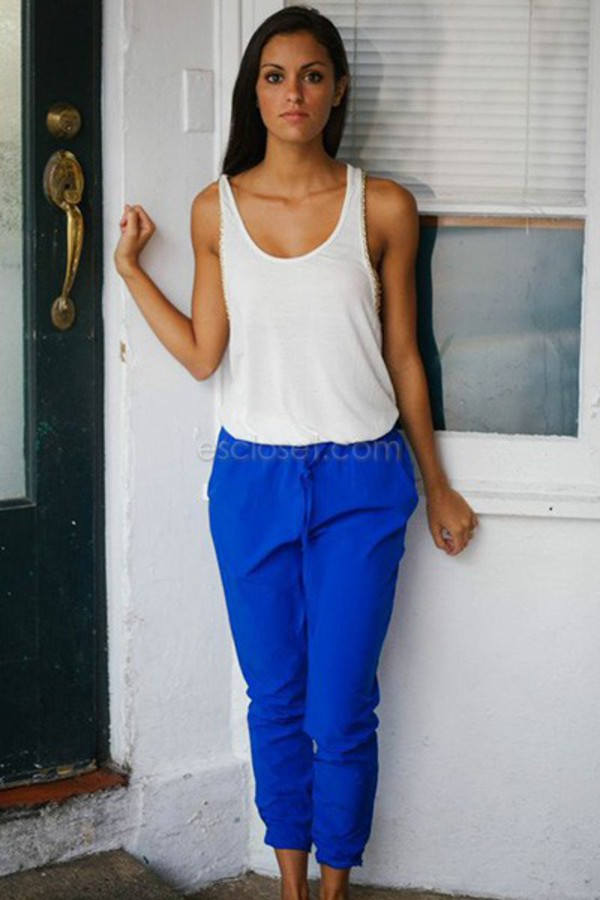 blue blue pants slouchy slouchy pants style summer outfits outfit fashion cute dress cute comfy casual look