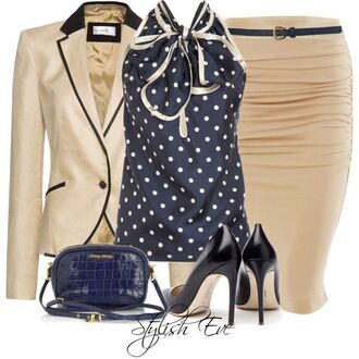 jacket polka dot blouse khaki pencil skirt high heels handbag blue formail outfit
