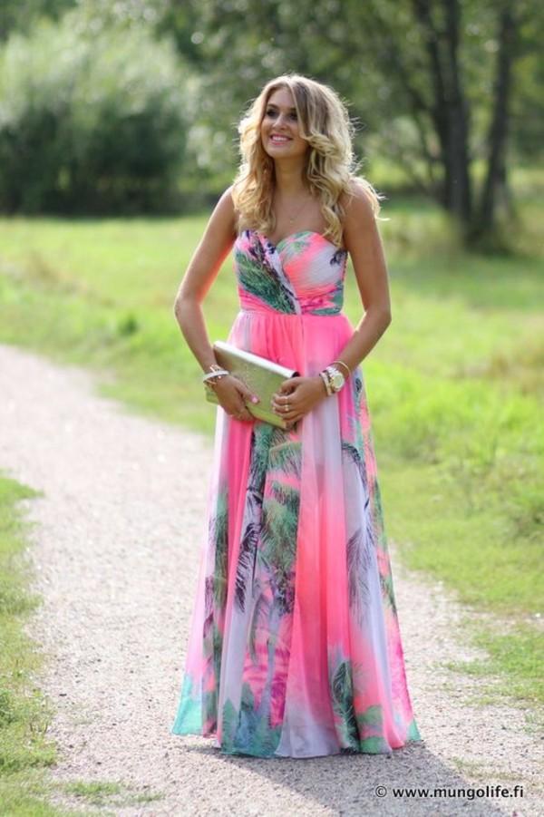 Dress: palm tree, neon dress, strapless, pink, maxi dress, summer ...