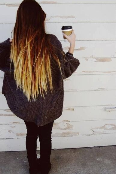 jeans black leggings ombre hair cozy sweater coffee boots oversized sweater winter/autumn
