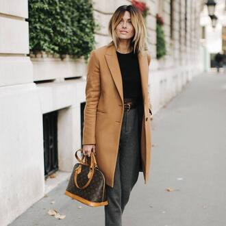 coat tumblr camel camel coat top black top pants grey pants belt work outfits winter work outfit winter outfits bag louis vuitton louis vuitton bag designer bag