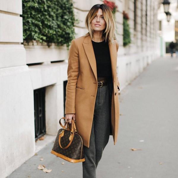 Coat Tumblr Camel Camel Coat Top Black Top Pants