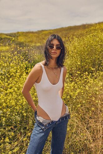 jeans top swimwear one piece swimsuit white swimwear editorial kendall jenner kardashians kendall + kylie bodysuit jewels gold gold necklace gold choker gold jewelry layered accessories kendall jenner jewelry