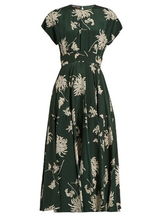 dress midi dress midi print silk green