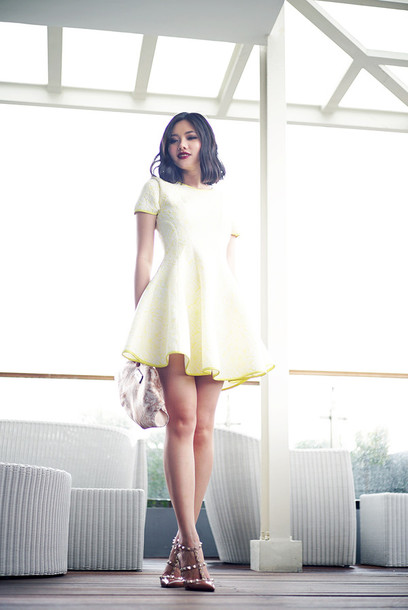 olivia lazuardy blogger yellow dress studded shoes dress shoes bag yellow summer dress