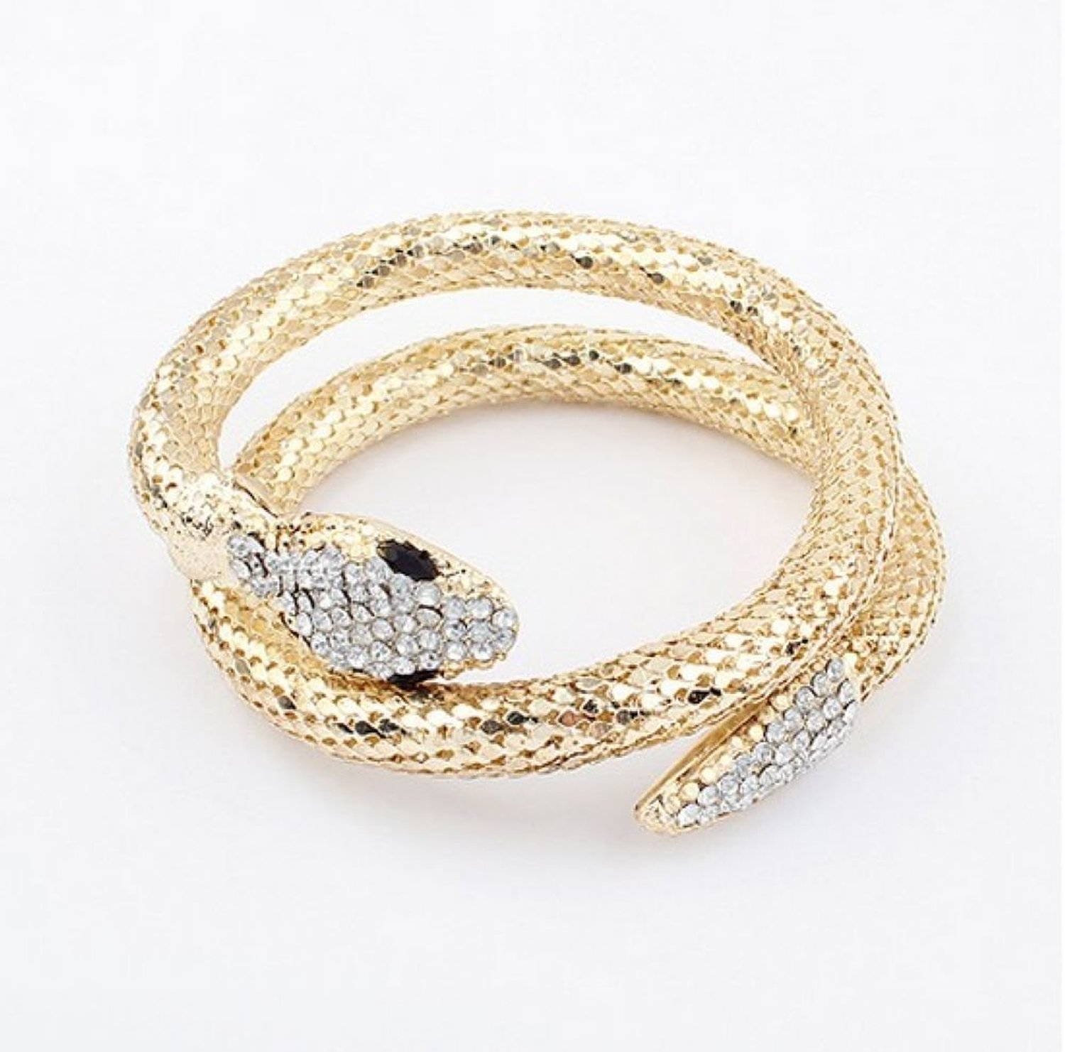 Amazon.com: wiipu crystal gold chunky curved stretch snake bangle bracelet (c2203): y shaped necklaces: jewelry