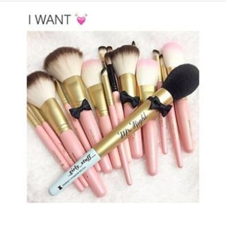 make-up makeup brushes cute pastel pink bow black baby pink pastel pink kawaii kawaii accessory