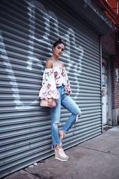 top,floral top,tumblr,floral,off the shoulder,off the shoulder top,denim,jeans,blue jeans,wedges,wedge sandals,sandals,bag,shoes