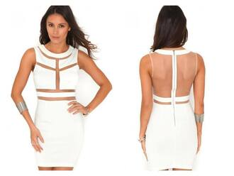 beautiful classy white dress bodycon dress evening dress see through fashion fancy