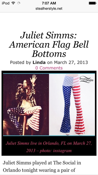 pants juliet simms american flag