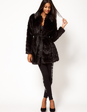 Lipsy Faux Fur Coat With Belt at ASOS