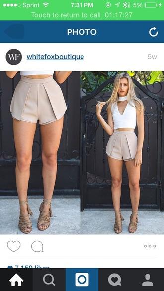 shorts beige skirt skorts shoes top beige shorts