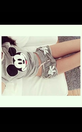 shorts mickey mouse cute shorts disney mickey cool grey pajamas hands white