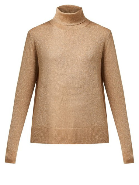 Joseph - Roll Neck Metallic Wool Blend Sweater - Womens - Gold