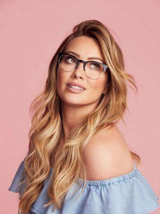 sunglasses editorial glasses hilary duff off the shoulder top top