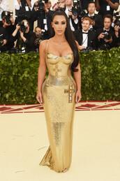 dress,gold,gold dress,metallic,kim kardashian,kardashians,maxi dress,bustier dress,met gala,celebrity,Met Gala 2018