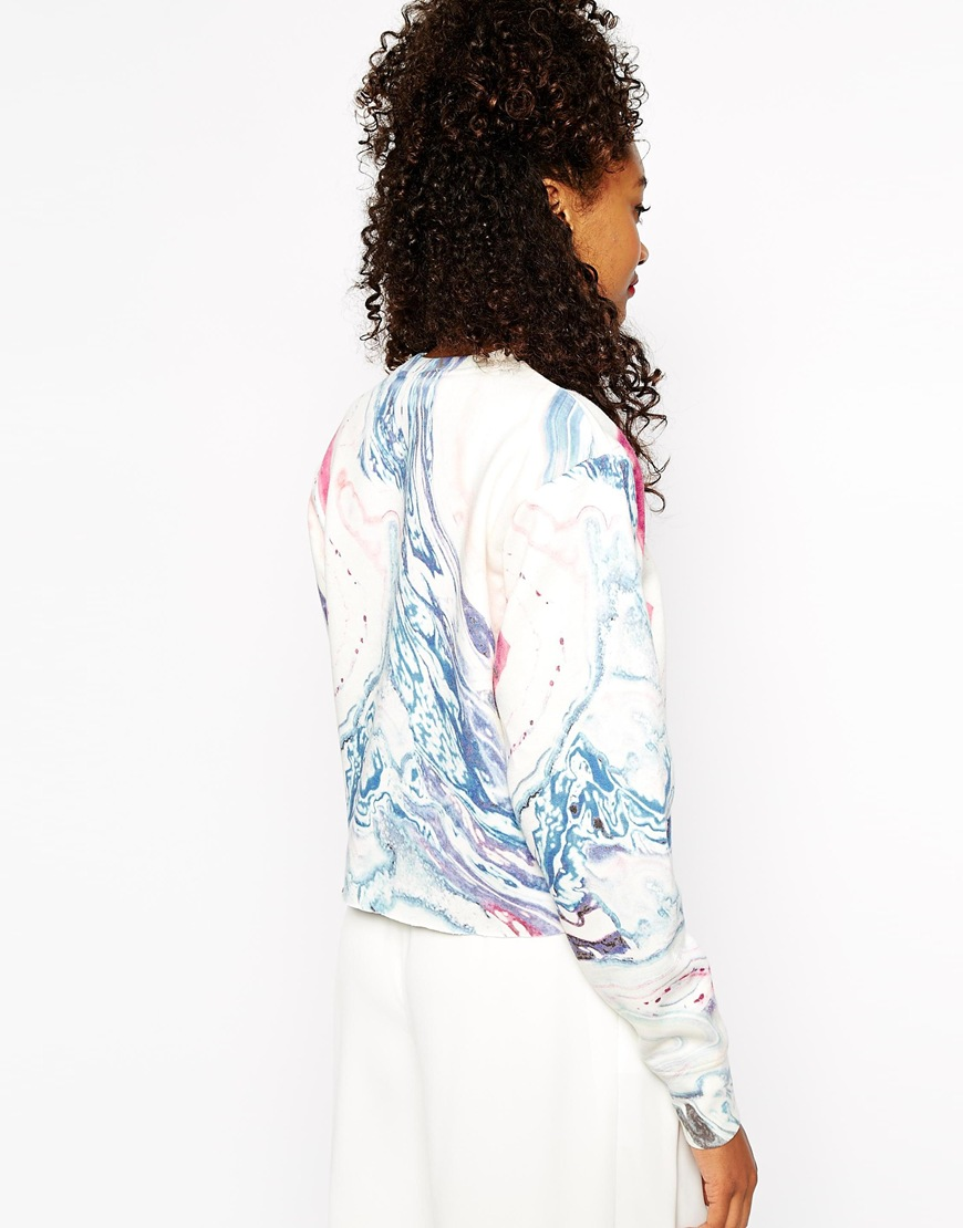 River Island Marble Print Cropped Sweatshirt at asos.com