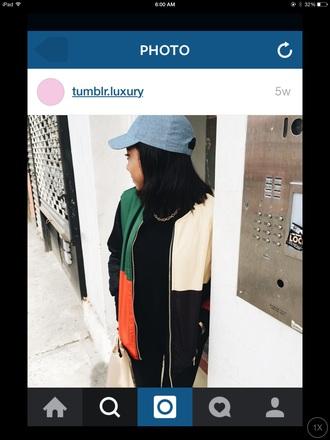 coat style streetwear streetstyle cap black jeans black top idc melanin on fleek tumblr outfit instagram tomboy chill colorful color/pattern
