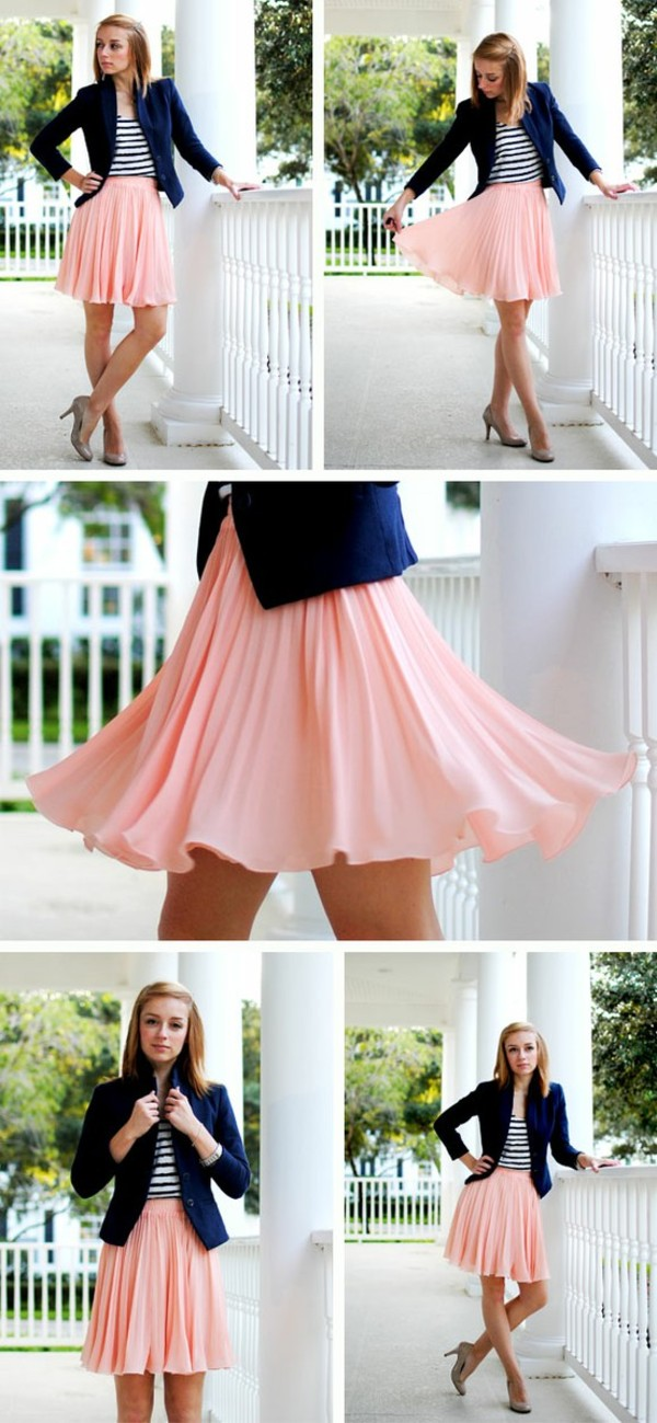 skirt pleated pink jacket navy blazer shirt white stripes cute pink skirt pleated skirt style bottoms midi skirt cute skirt fashion dirty dancing baby
