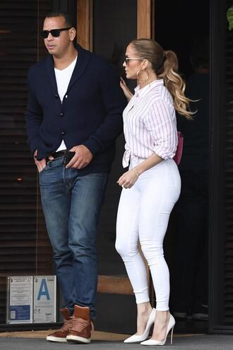 shirt pumps fall outfits jennifer lopez skinny jeans white jeans pants stripes striped shirt jeans