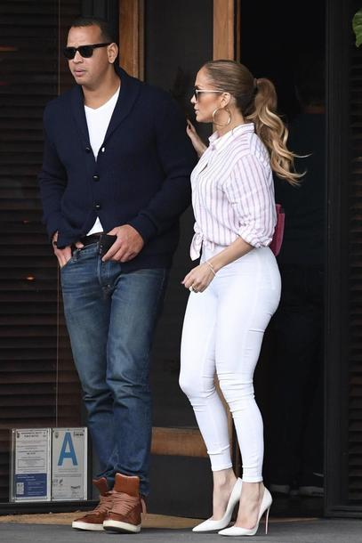 cc42d3dac7aa shirt pumps fall outfits jennifer lopez skinny jeans white jeans pants  stripes striped shirt jeans