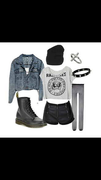 jacket jewels boots punk grunge blouse beanie band t-shirt combat boots black shorts leather shorts denim jacket tights black tights ramones underwear dr martens