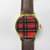 Red and Black Tartan Plaid Watch , Vintage Style Leather Watch, Women Watches, Unisex Watch, Boyfriend Watch,