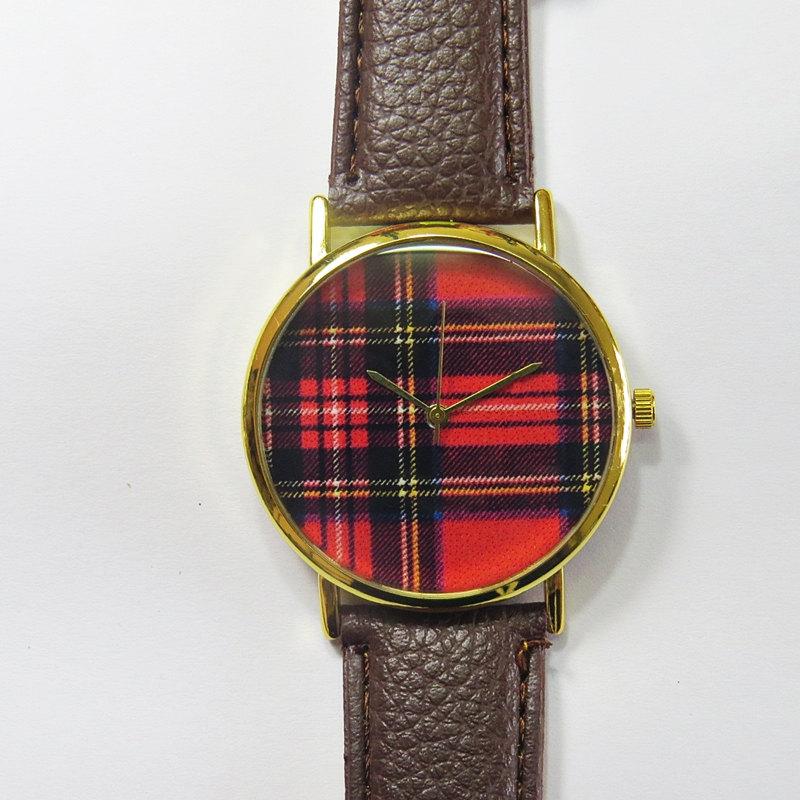 Red and Black Tartan Plaid Watch , Vintage Style Leather Watch, Women Watches, Unisex Watch, Boyfriend Watch,