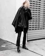 jacket,black jacket,leather jacket,boyfriend,black pants,leather pants,flare pants,ankle boots,black boots,sweater,knitted sweater,black sweater,sunglasses
