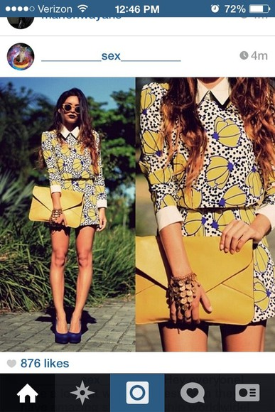 blue white dress floral yellow short party dresses three-quarter sleeves