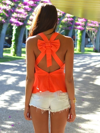 shirt orange clothes beautiful camisole girly bow blouse tank top