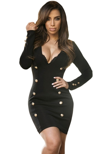 dress buttons wots-hot-right-now white white dress black dress little black dress black bodycon dress plunge v neck cleavage sexy dress party dress chic trendy girly