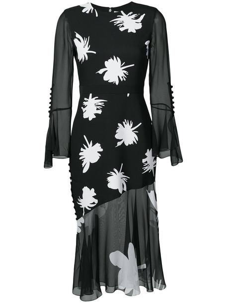 Prabal Gurung dress ruffle dress ruffle women floral print black silk