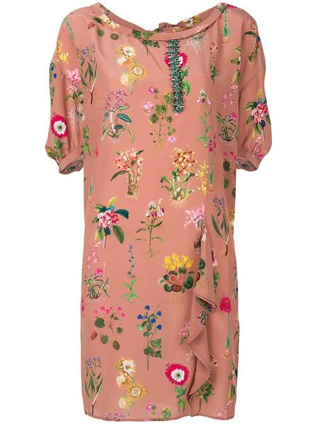 No21 dress shift dress women floral silk brown