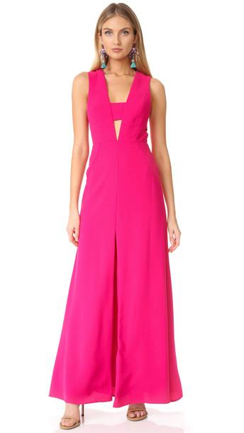 Jill Jill Stuart Cutout V Neck Gown - Rose Blossom