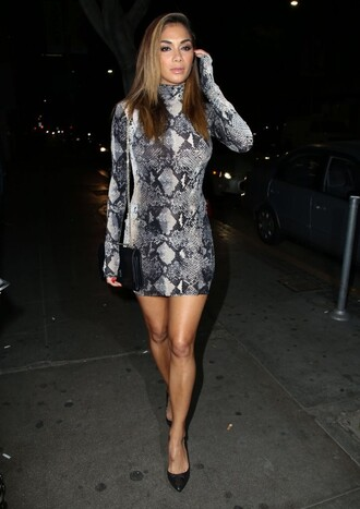 dress animal print python nicole scherzinger pumps mini dress bodycon dress